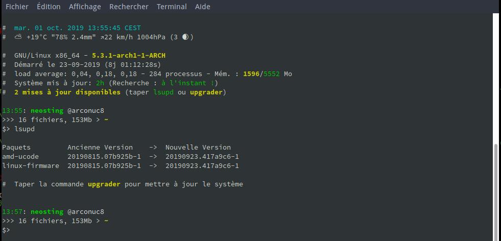 echolib terminal lsupd info