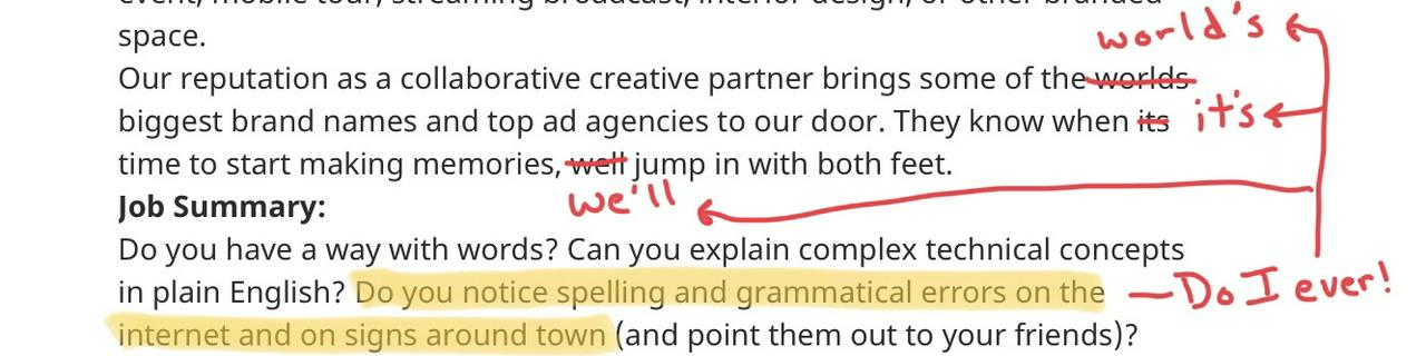 A markup of errors in a job posting
