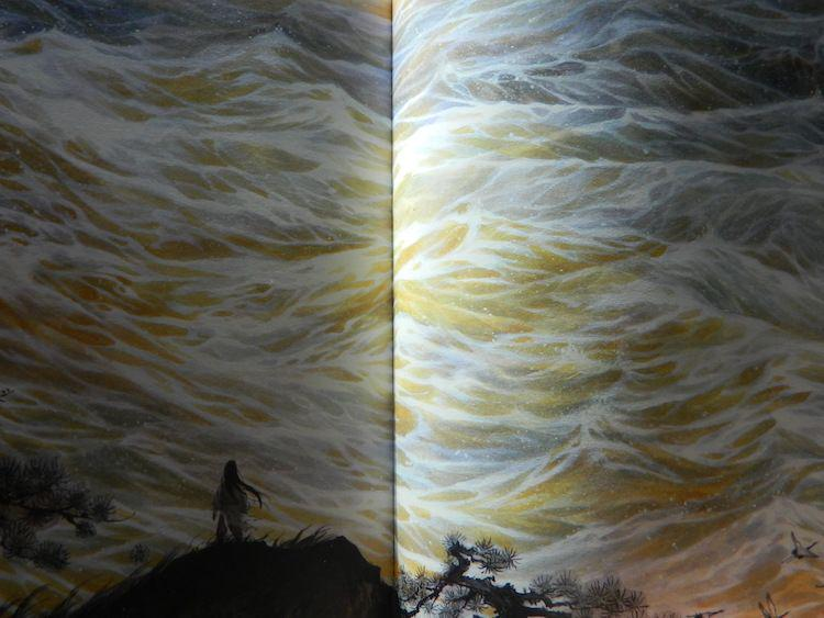 A mysterious figure stands before a wall of waves