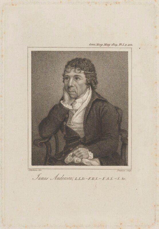 James Anderson sitting with his chin in his palm. Small circular glasses sit atop his forehead. The picture is a stipple engraving, with dots creating tone.