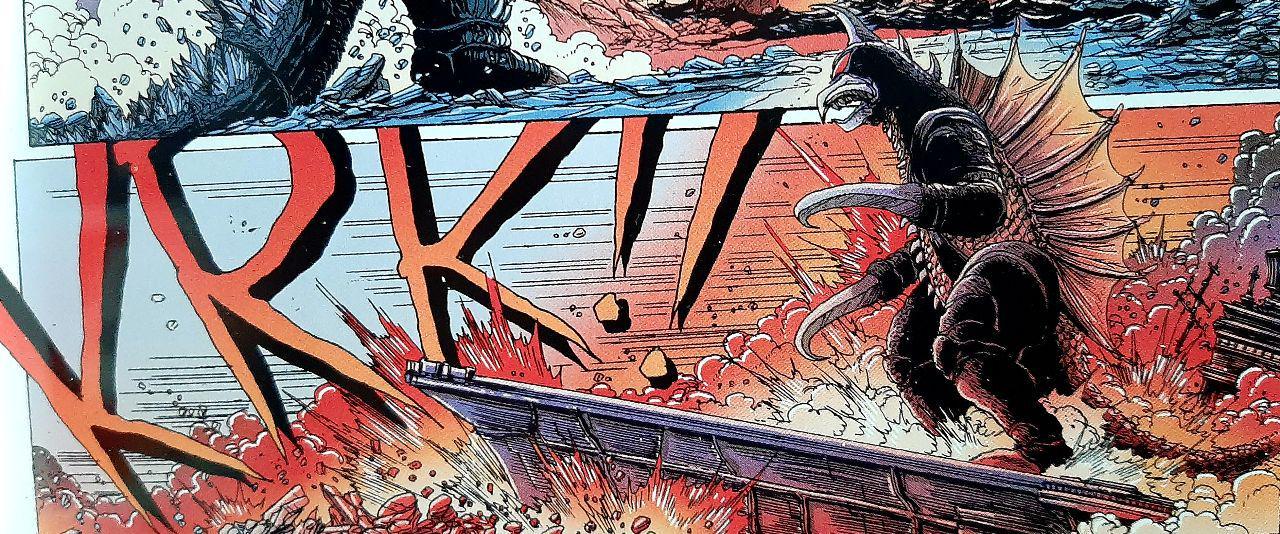 Gigan arrive en se tenant debout sur un porte-avions lui faisant office de planche de surf