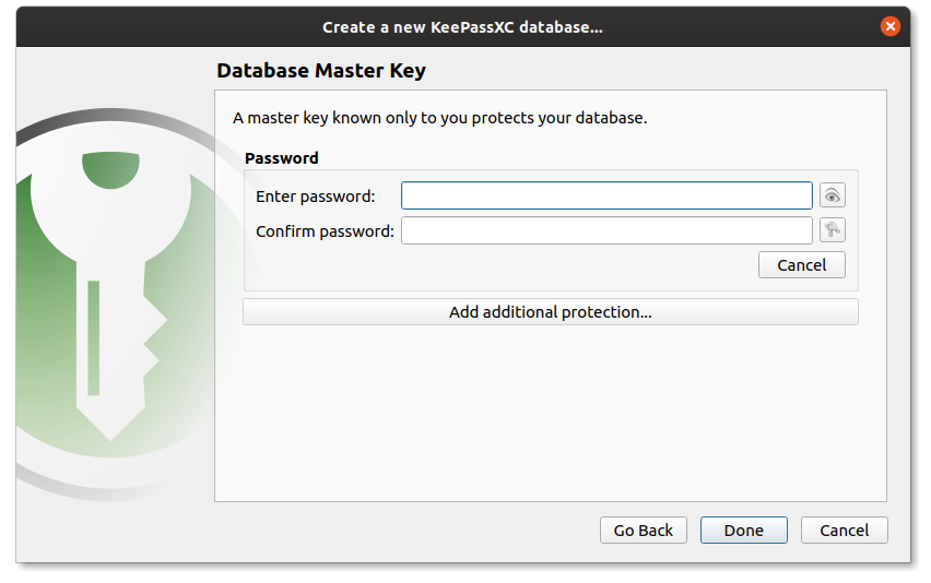 Setting the password for your KeePassXC database