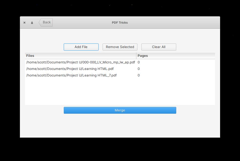 Getting ready to merge PDFs using PDF Tricks