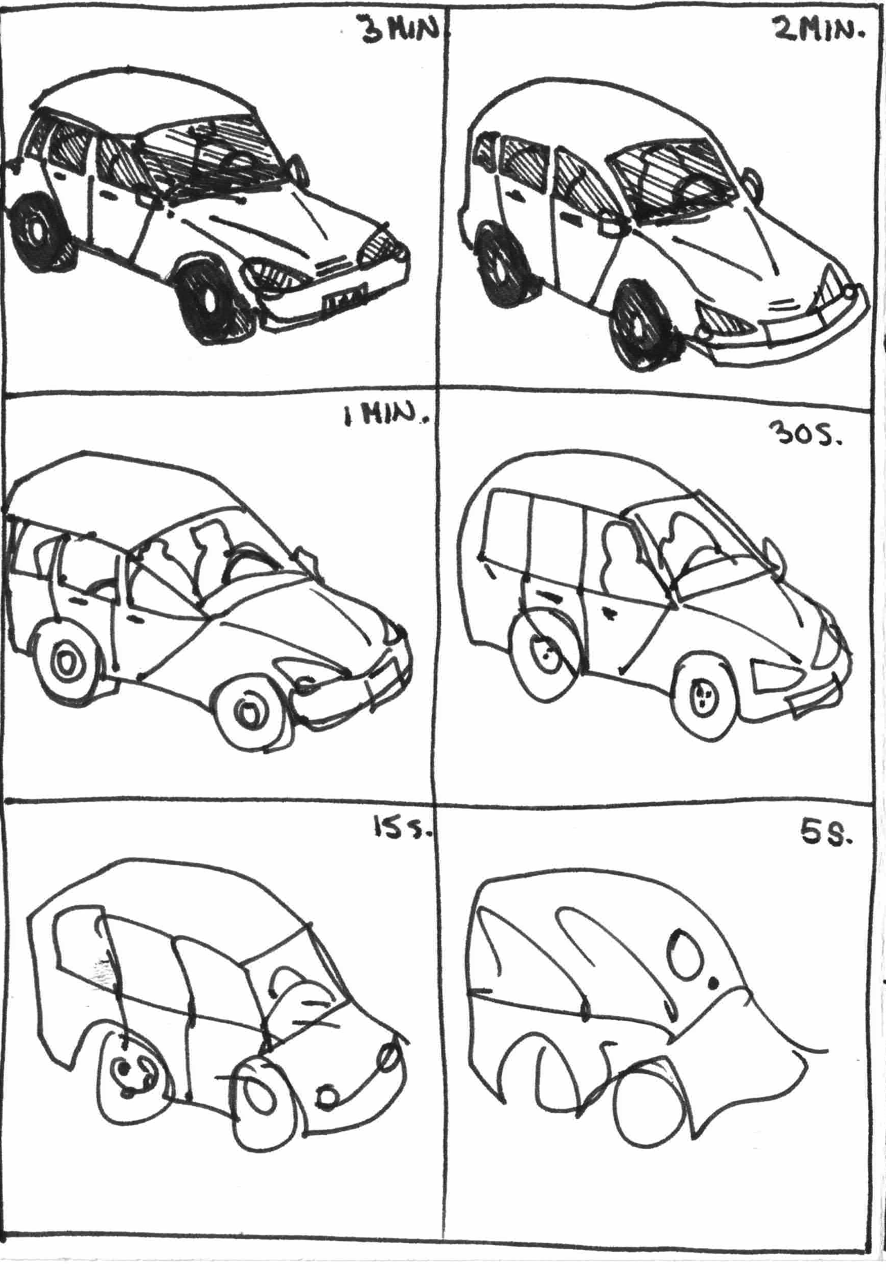 6 drawings of a car