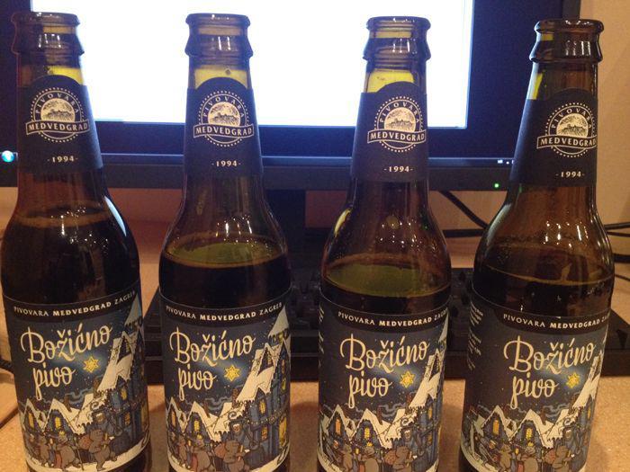 četiri boce Božićnog piva od Medvedgrada