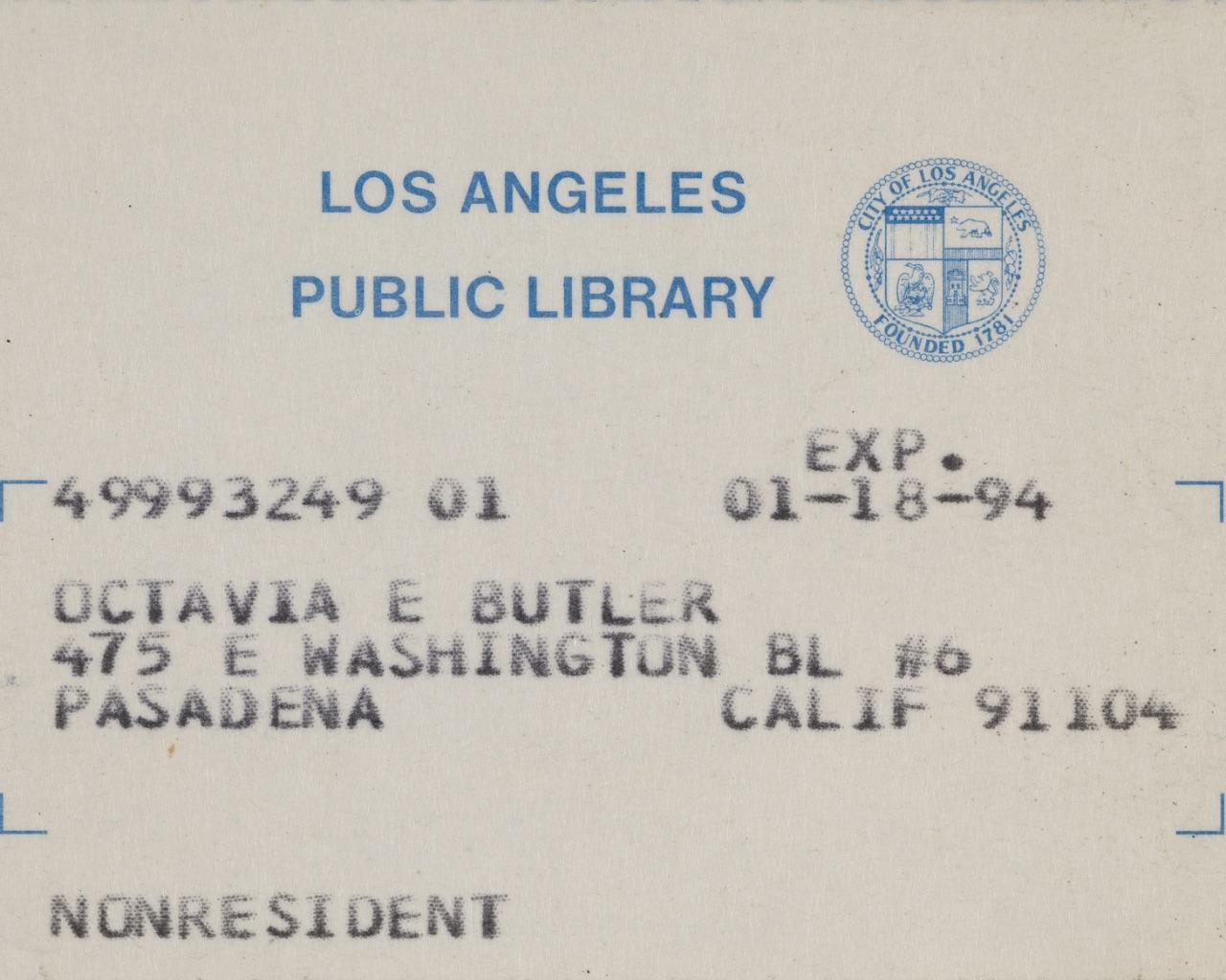 Octavia Butler's library card