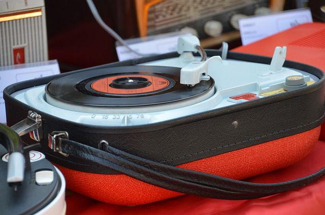 A 45 RPM single on a portable player