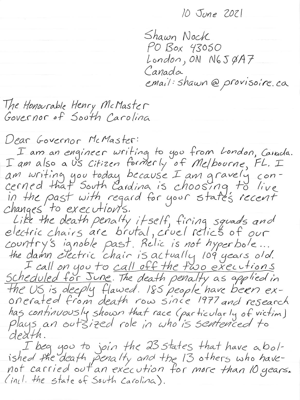 handwritten letter, page 1, transcript follows