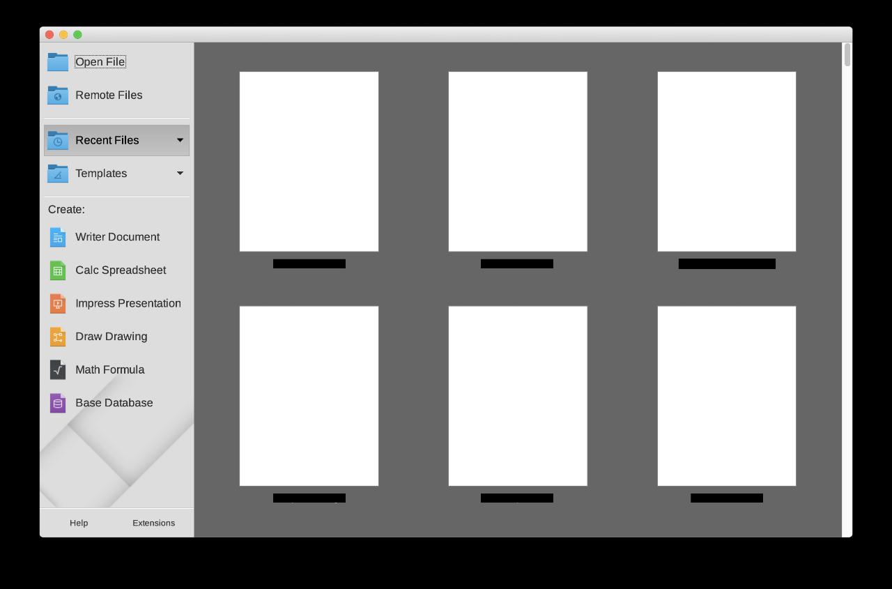 LibreOffice Home Screen