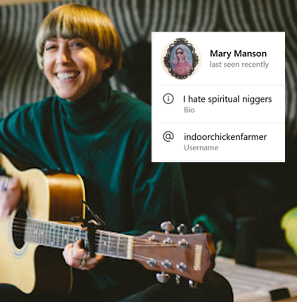 Alice McNamara, a white woman with a blonde bowl cut, holding a guitar and smiling. Inset is a screenshot of Mary Manson's Telegram profile. The username is IndoorChickenFarmer and the bio reads, I hate spiritual niggers.