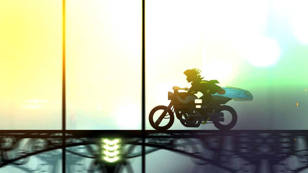 A photo similar to the ski-do one previously. This time Red however is on a motorcycle, speeding along a black opaque bridge. There is no background details this time, only a bright blend of white, yellow, and a hint of green.