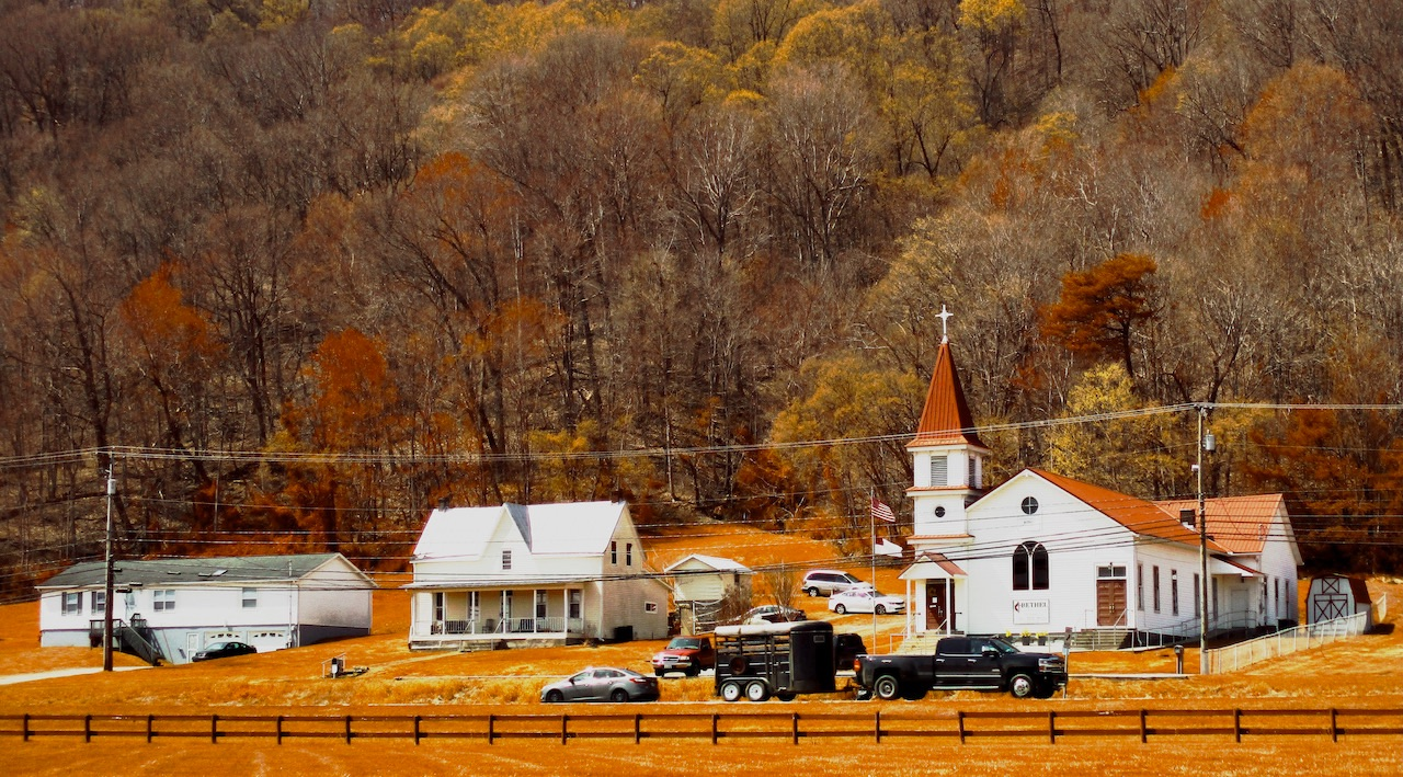 Church and homes in small town