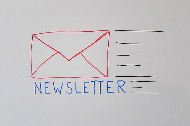 A line drawing of a newsletter