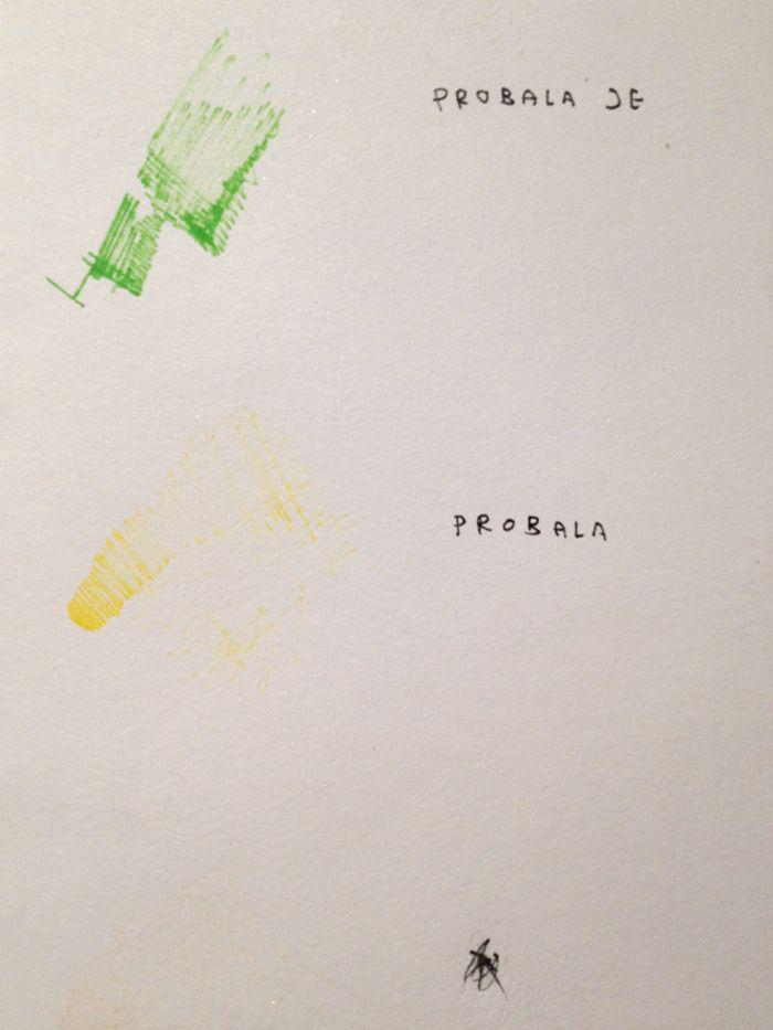 drawing with a green, yellow and unknown colour pen with text next to each