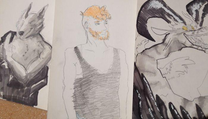 drawings of a wolf, a bearded man and a dragon