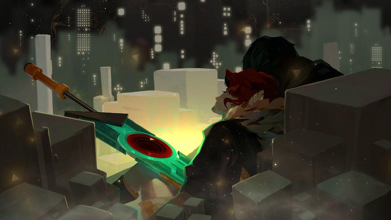 This image is very similar to the first image in the post, Red's beloved laying dead on the ground, rested against a pile of rubble. Only this time, she is laying on the ground with him as well, the Transistor she carried with her throughout the journey, pierced into her abdomen. The dust is settling around them as the journey finally comes to an end.