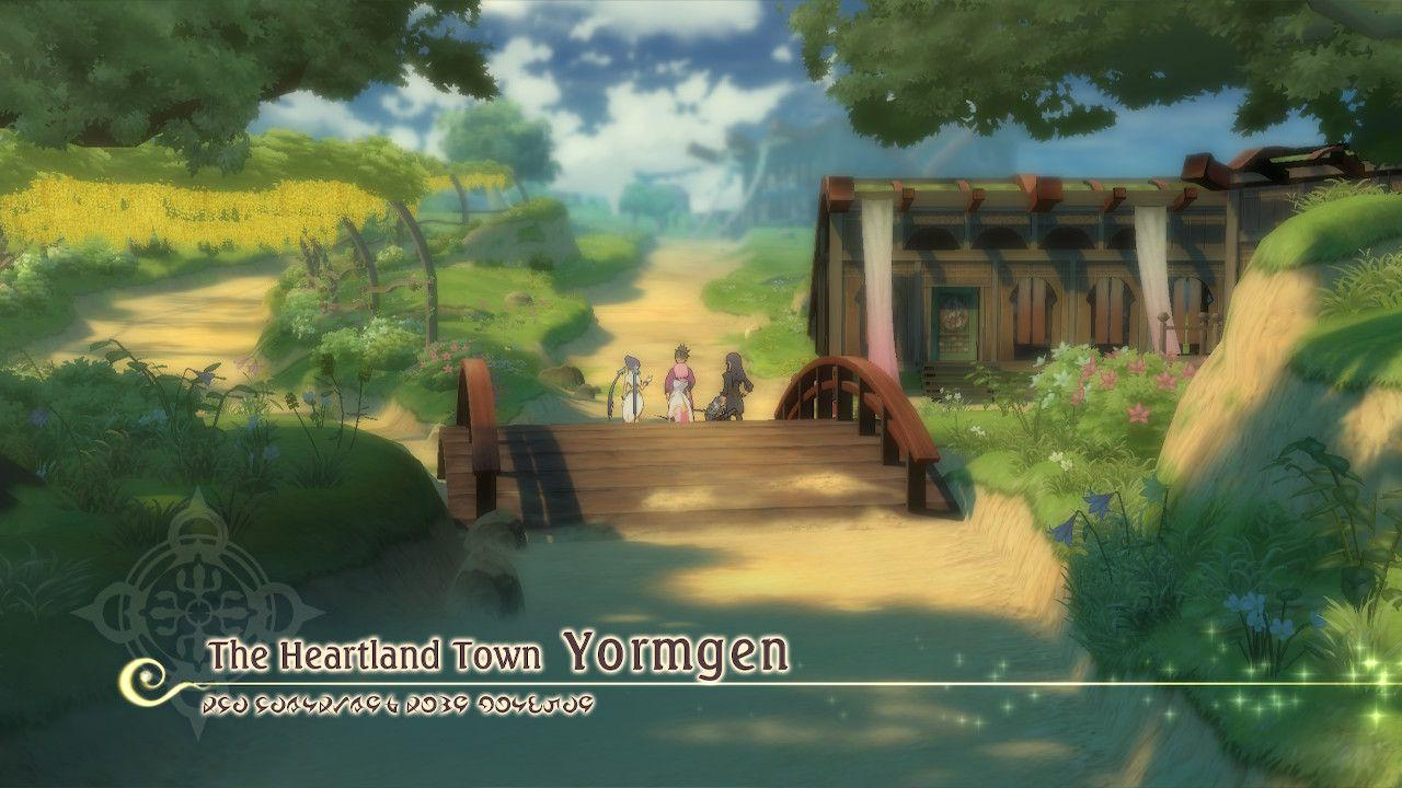 "The vesperia gang standing on a bridge, green scenery around them. There is text on the screen that says ""The Heartland Town - Yormgen"""