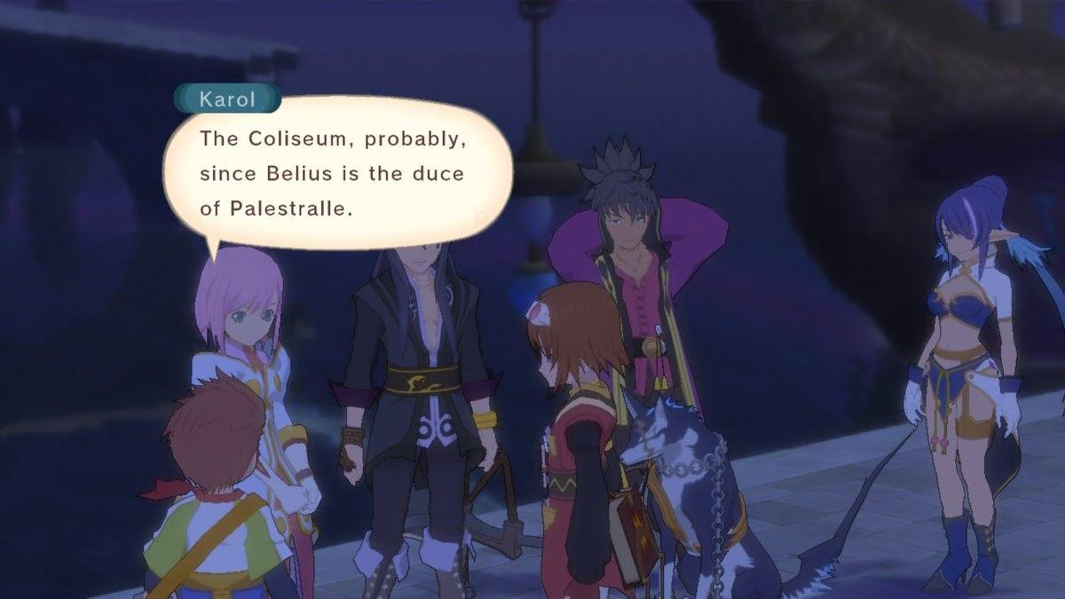 "Karol from Tales of Vesperia gathered with the group, saying ""The Colloseum, probably, since Belius is the duce of Palestralle"""