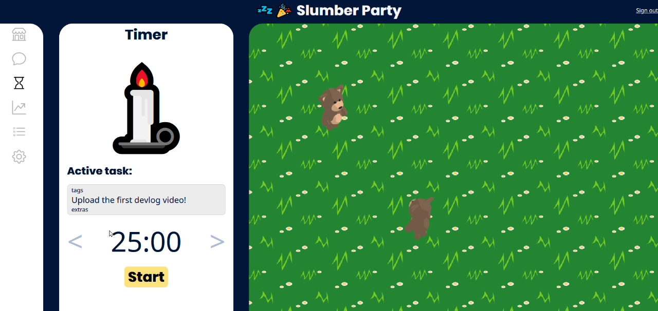 The Timer tab of Slumber Party.