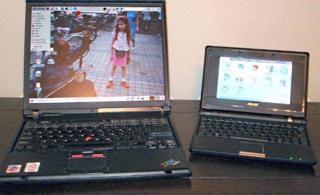 Netbook and laptop, side by side, circa 2007