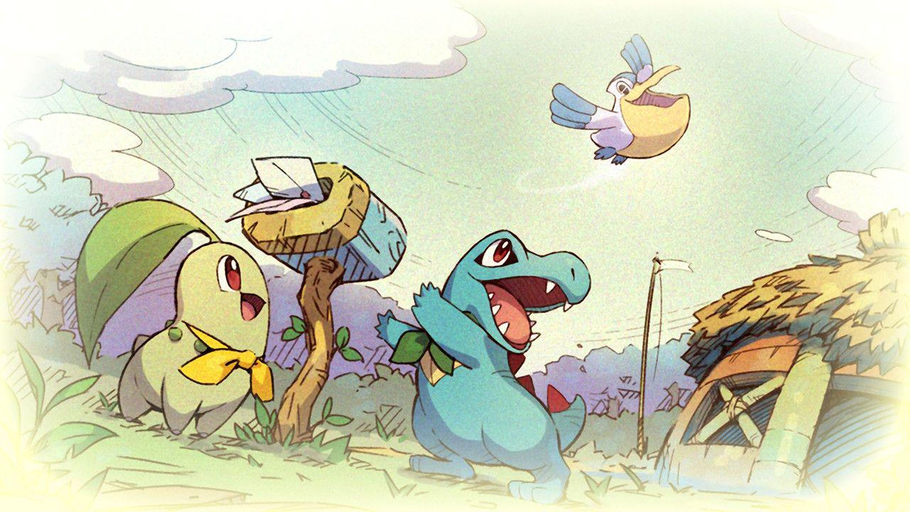 A pelipper is looking down gleefully at a totodile and chikorita who are waving up at it.