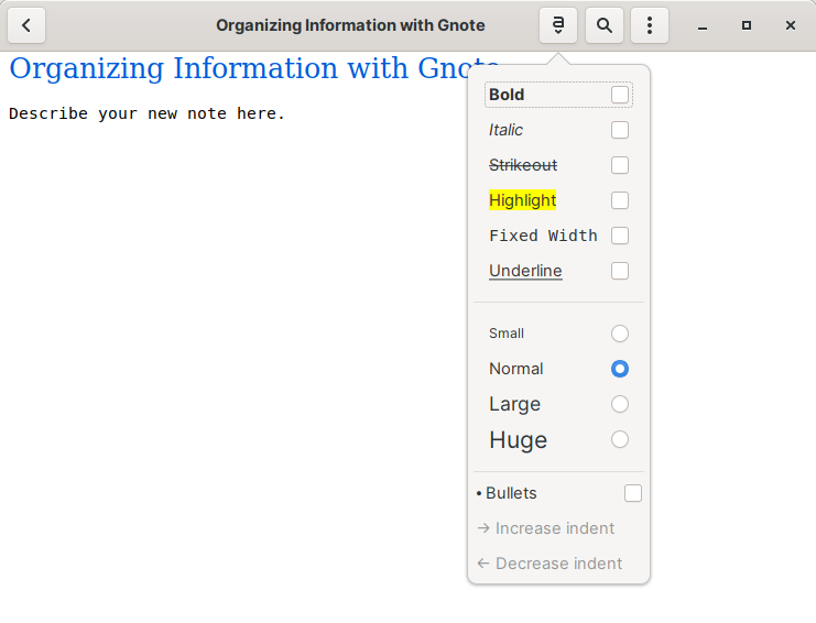 Formatting for your notes in Gnote
