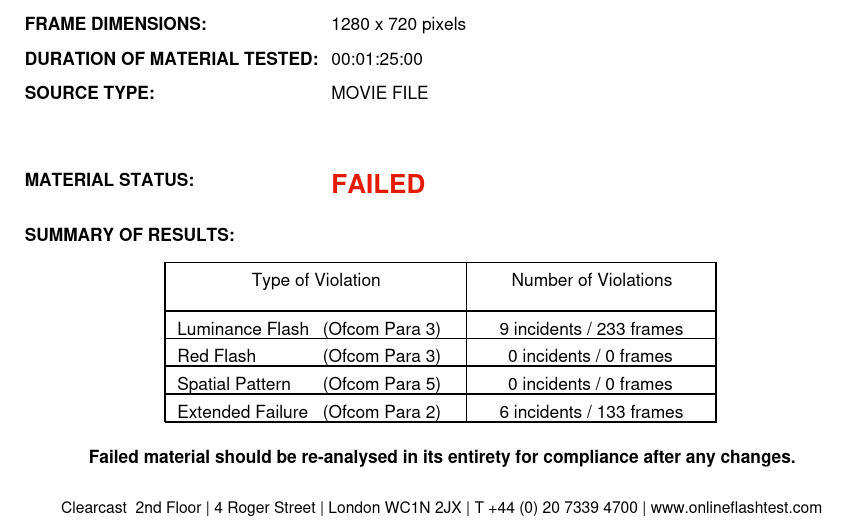Screenshot of a test certificate issued by ClearCast OnlineFlashTest.com, showing a FAILED status and 9 incidents or 233 frames for luminance flash violation, 0 for red flash violation, 0 for spatial pattern violation, and 6 incidents or 133 frames for extended failure violation, with references to Ofcom Para 2, 3 and 5