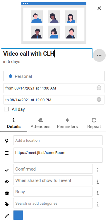 Details pane in Nextcloud Calendar