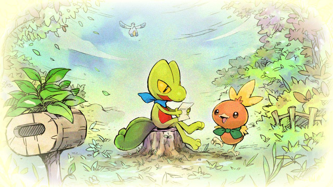 A treeko sits on a stump reading a letter, a torchic is standing next to it, very excited.