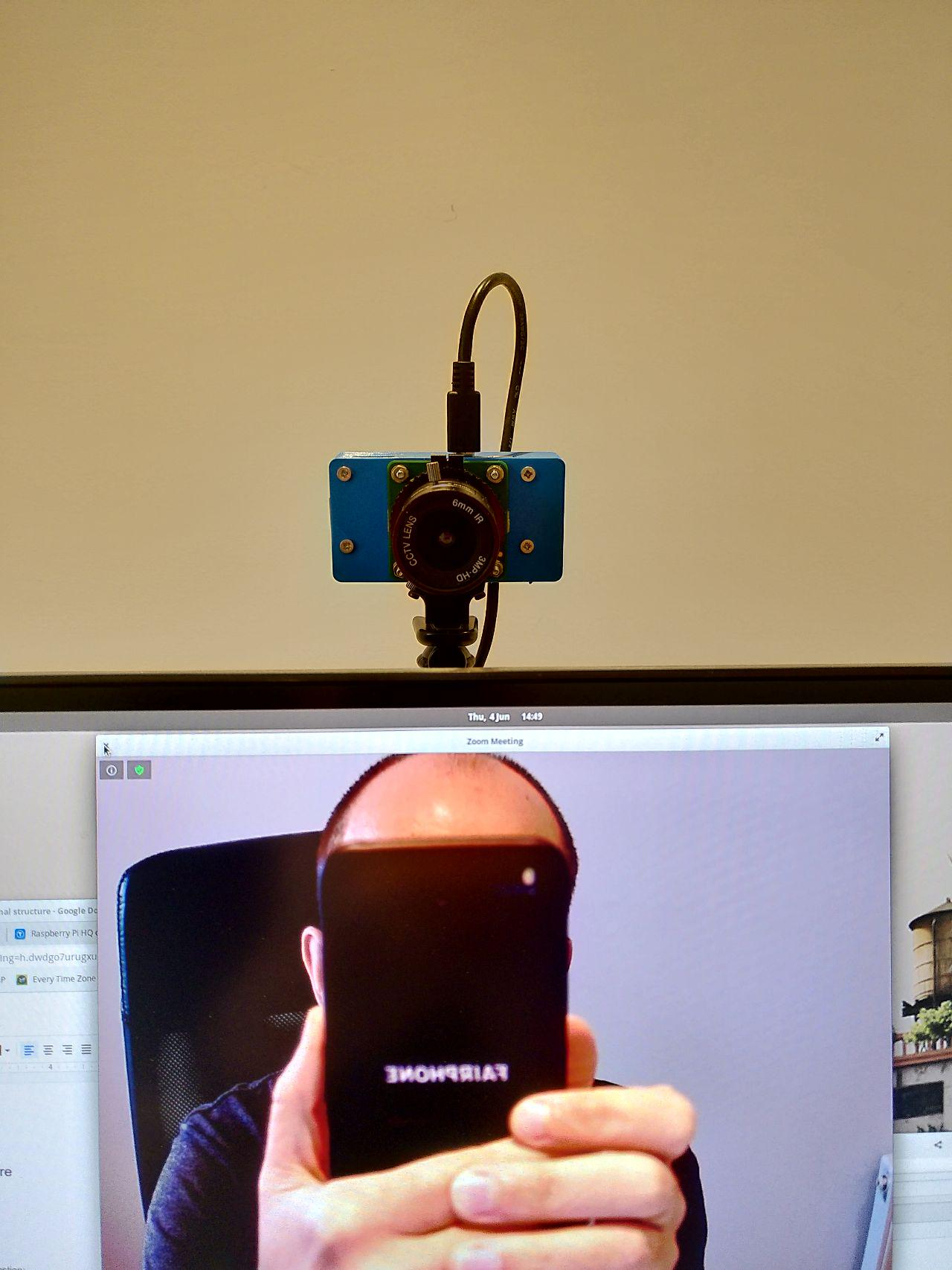 DIY webcam mounted on monitor