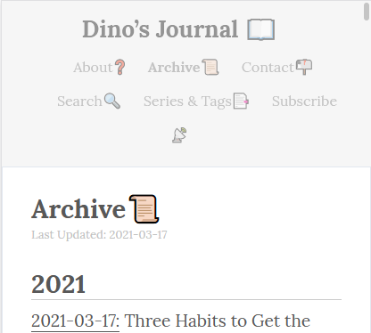 Last Updated Date showing up under the title on a small screen.