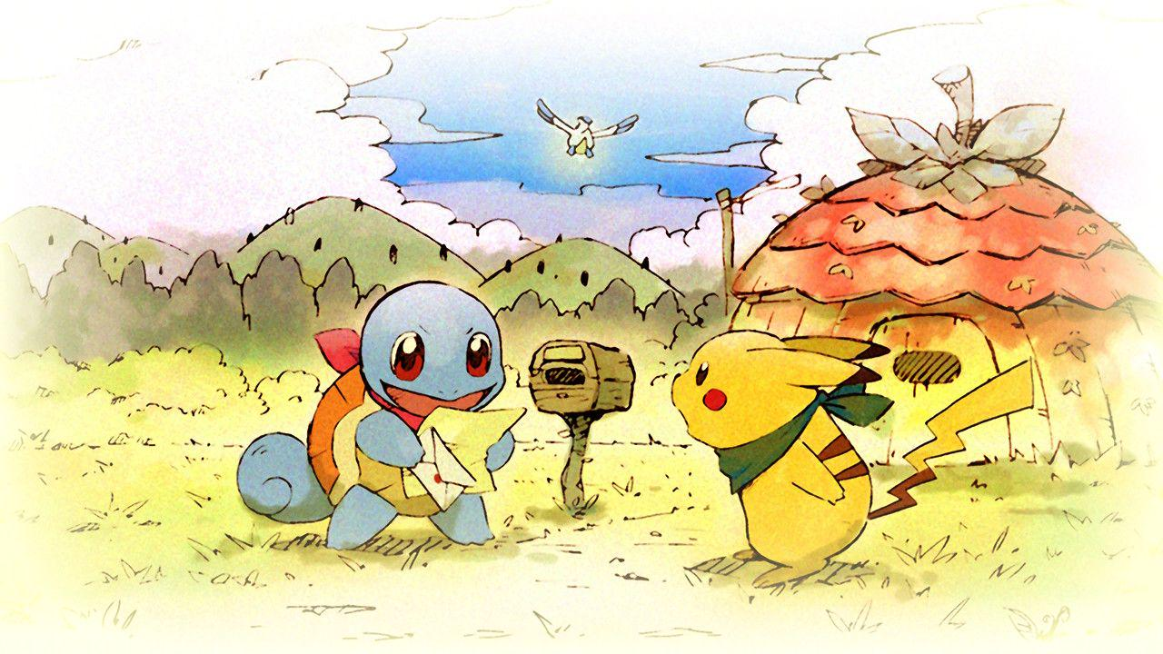 A squirtle is opening the mail, pikachu looking at him surprisingly! There is a pelipper flying off in the distance.