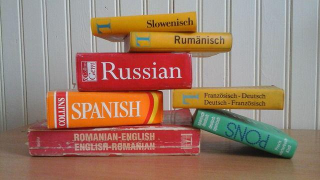 A pile of foreign language dictionaries