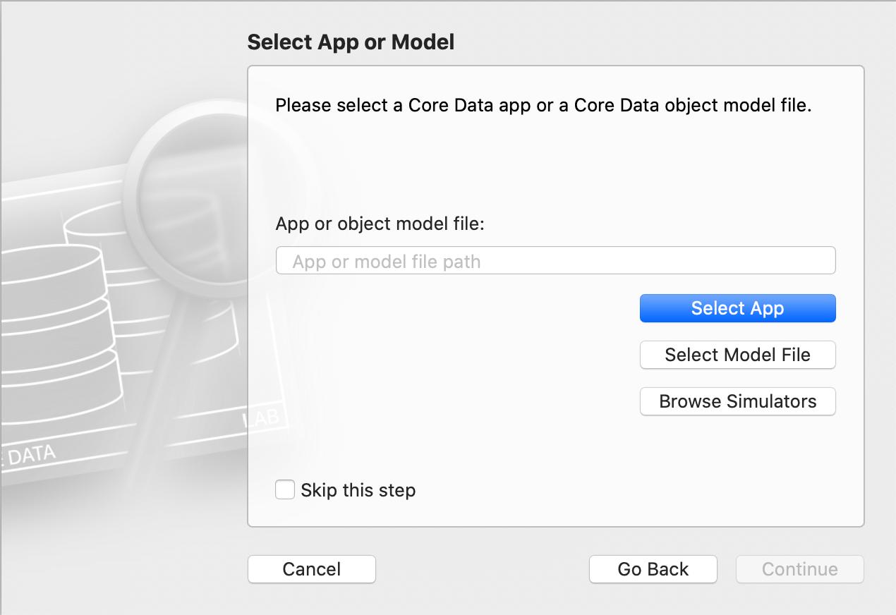 CoreDataLab - select app