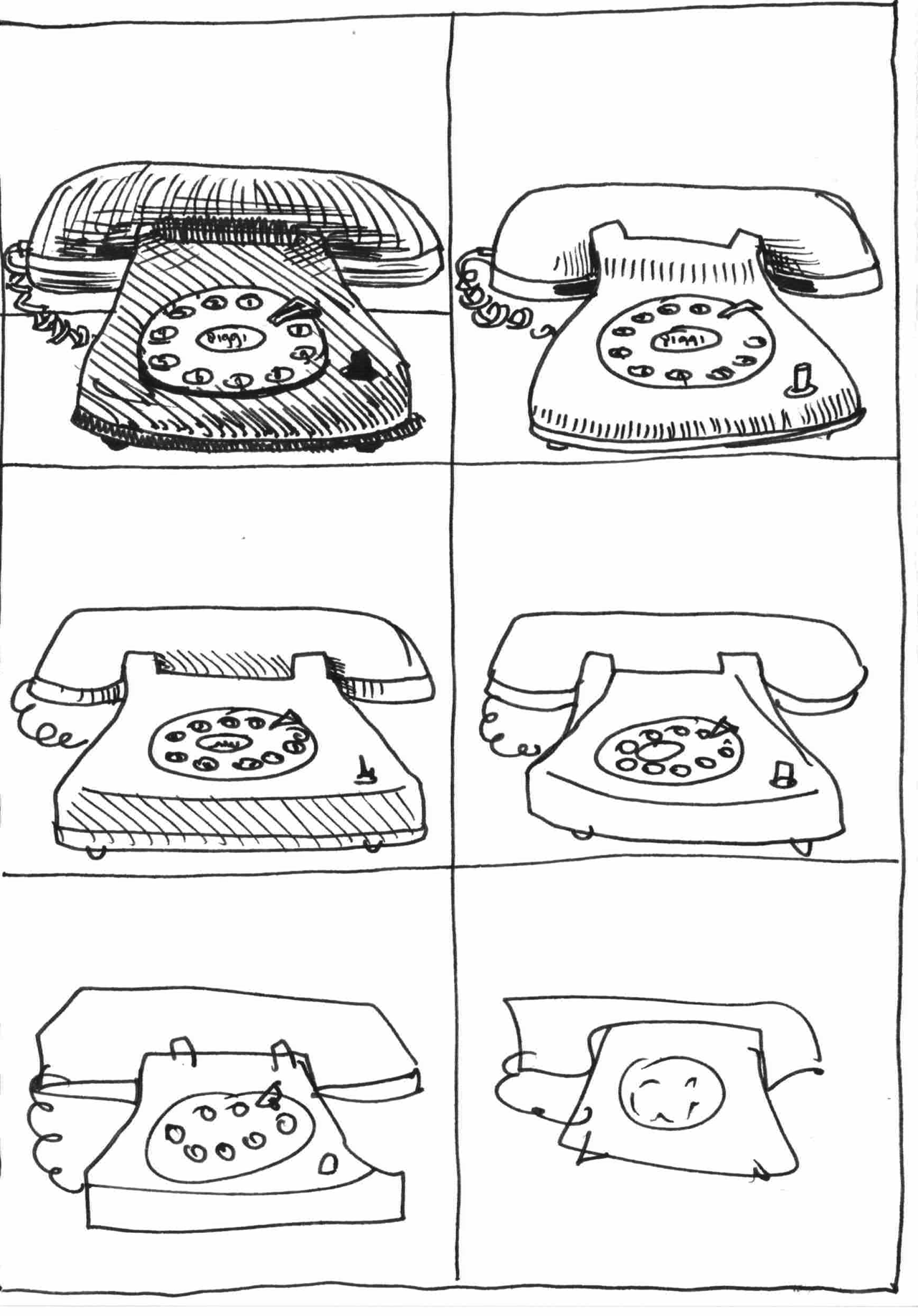6 drawings of an oldschool phone
