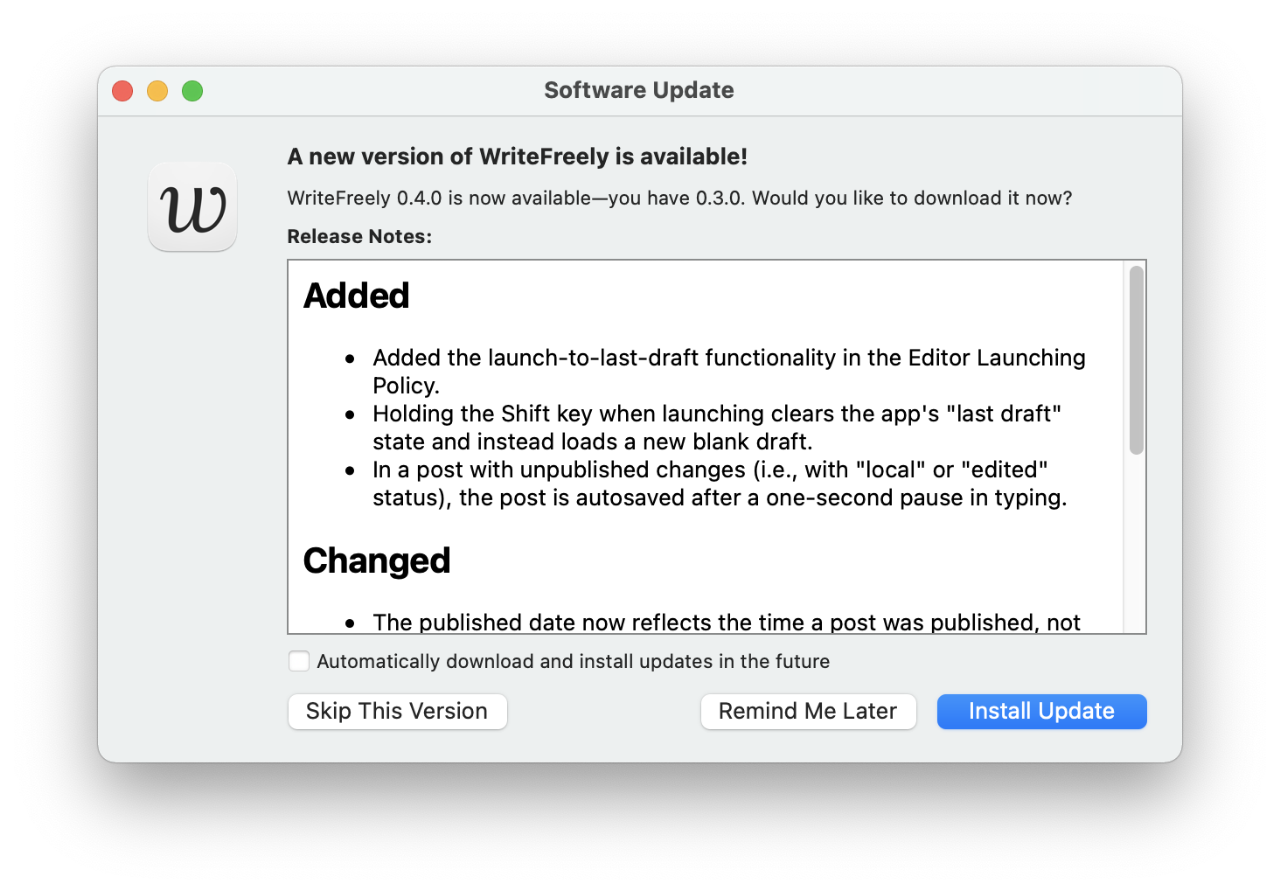 If you're participating in the WriteFreely for Mac beta, check for new test releases!