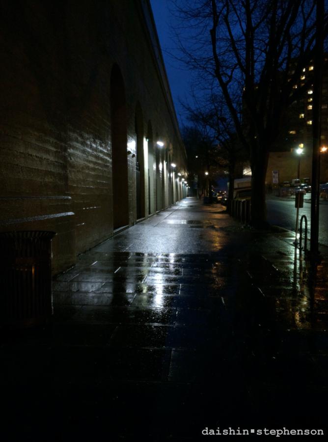night shot of a city street