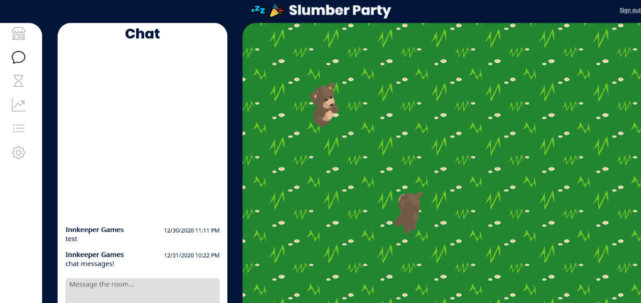 The Chat tab of Slumber Party.