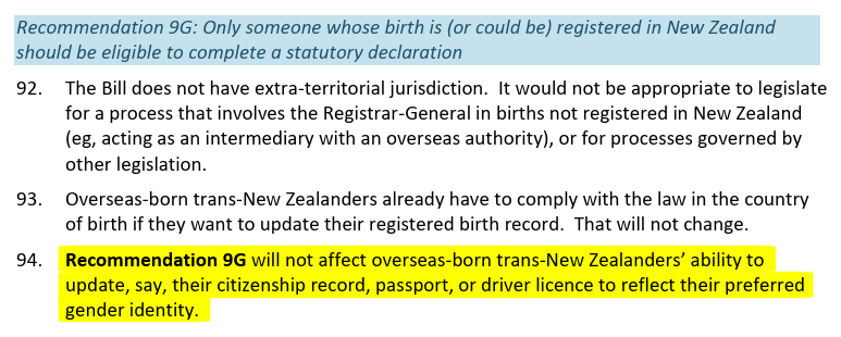 Screenshot of text with highlighted part that reads, Recommendation 9G will not affect overseas-born trans-New Zealanders ability to update, say, their citizenship record, passport, or driver licence to reflect their preferred gender identity.