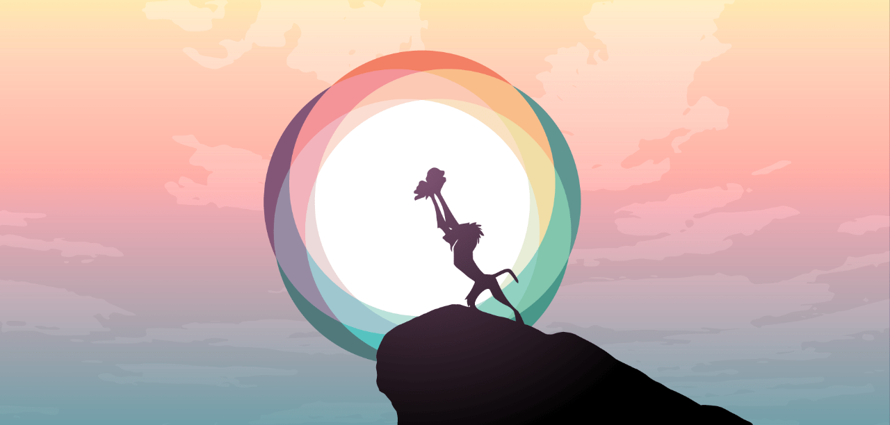 Image showing the silhouette of a mandrill holding a baby lion on top of a prideful rock in front of a sun styled as the Interledger logo.