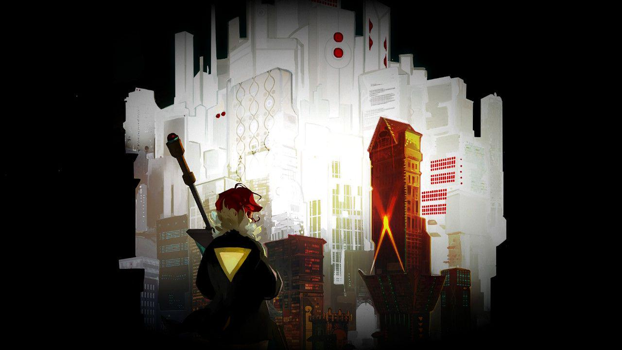 Red's back is turned to the viewer. She grips the futuristic sword tightly and looks onto the sliver of city that is being shown in the background. It radiates white an bright, with one building in particular lit up in red with two orange spot lights shooting up it, marking it with an X.