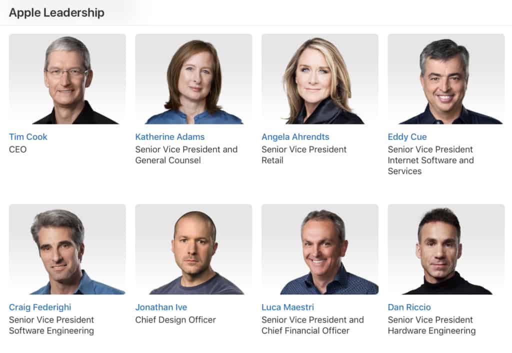 Apple Leadership Headshots