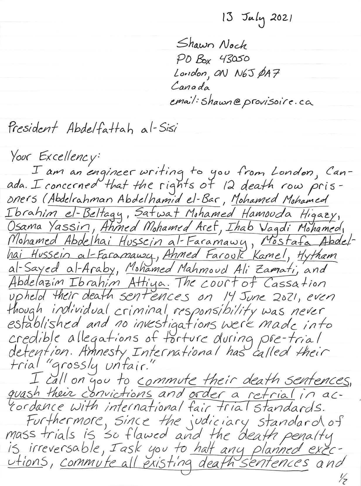 hand-written letter, transcript follows, page 1