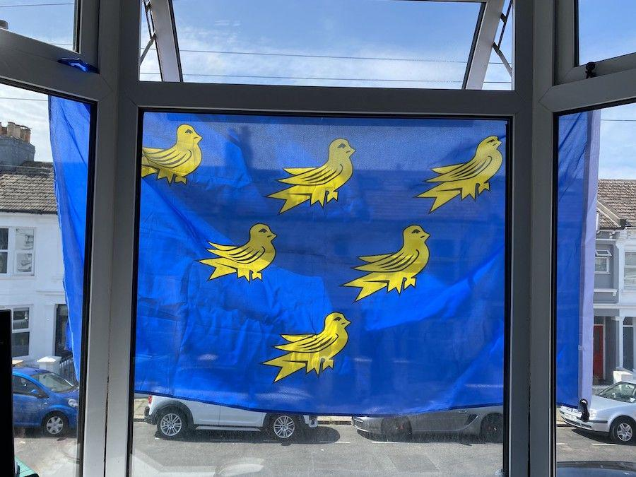 Sussex flag hanging outside my house