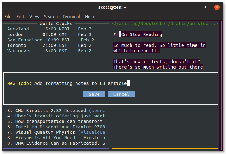 Adding a task to WTF's todo module