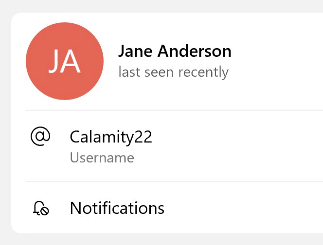 A screenshot of Jane Anderson's Telegram profile with the username at Calamity22.