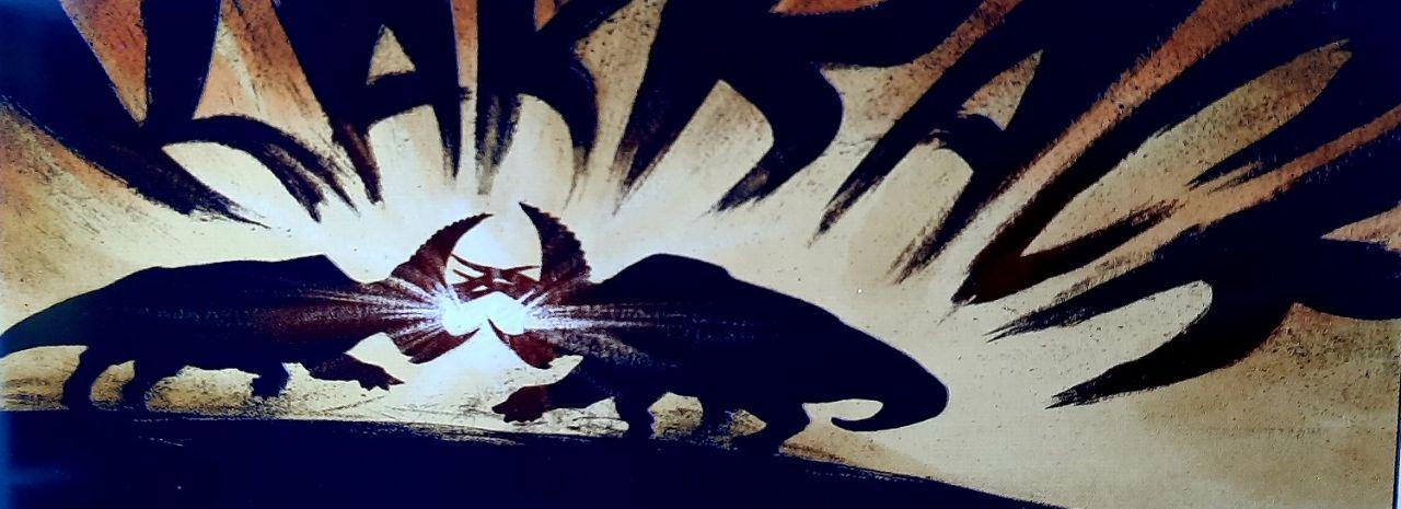 deux triceratops qui se battent