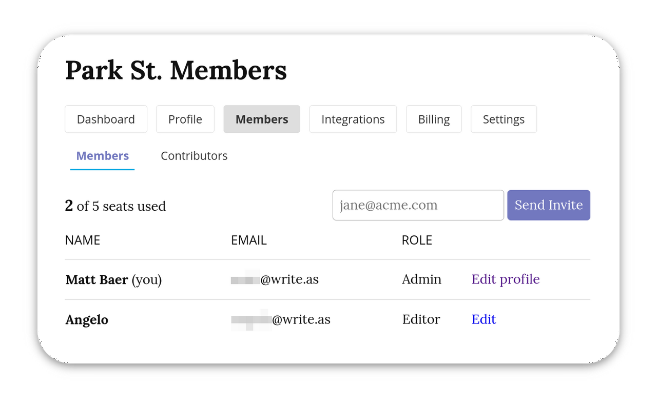 A screenshot of a 'Park St. Members' page, including an 'Admin' user and an 'Editor'