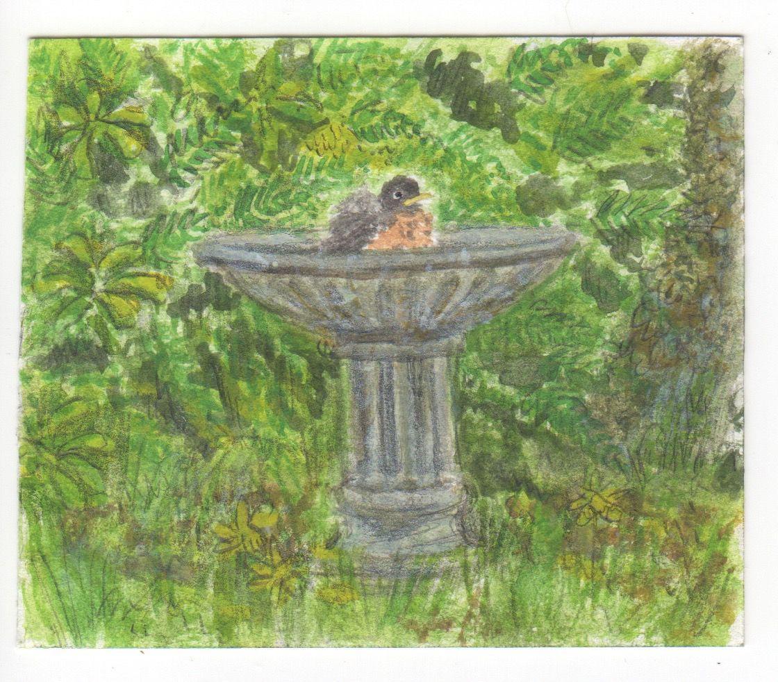 robin bath painting