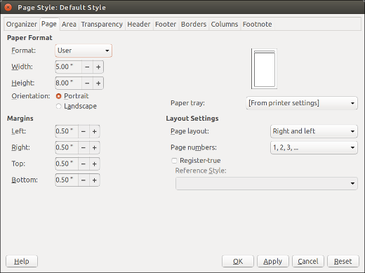 Setting page styles in LibreOffice Writer